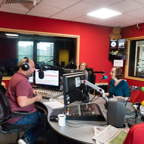 Trans ambassador Katie Neeves (right) of Cool2BTrans talks to presenters Ady Dayman and Jo Hayward at BBC Radio Leicester.